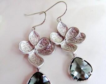 Silver Orchid Earrings, Dangle Drop Earrings, Gray Bridesmaid Earrings, Silver Wedding Jewelry, Gardendiva