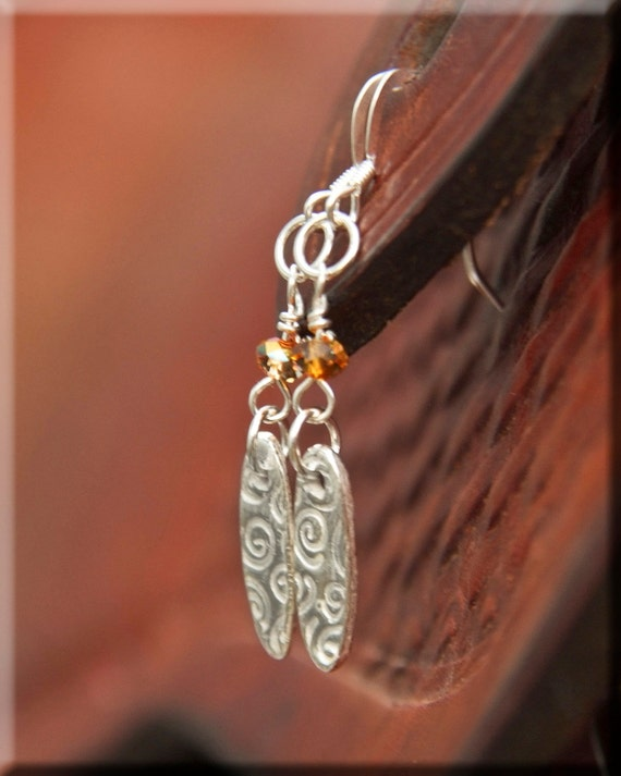 Womens Fine Silver dangle earrings, handworked silver with Swarovski crystal sparkle in astral pink