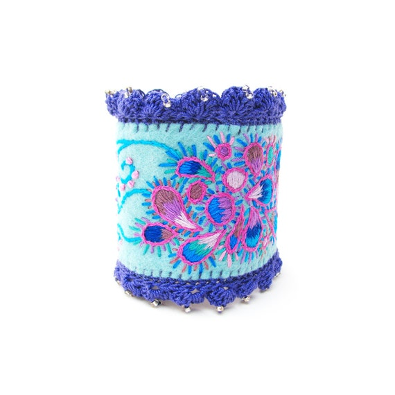 Aqua Embroidered Cuff Bracelet in a Paisley Pattern with Crochet Edging