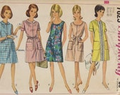 1960s Vintage Dress Sewing Pattern Misses One Piece Dress Two Necklines A-line Size 20 Bust 40 Madmen Summer Dress Pattern Simplicity 7025
