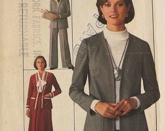 Vintage 70's Sewing Pattern, Misses Skirt, Pants and Jacket Size 10