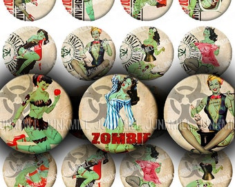 """ZoMBIE PIN-UPS - Digital Printable Collage Sheet - Retro Horror Pin-Up Girls, Zombie Apocalypse, Halloween, 1"""" Circles, Instant Download"""
