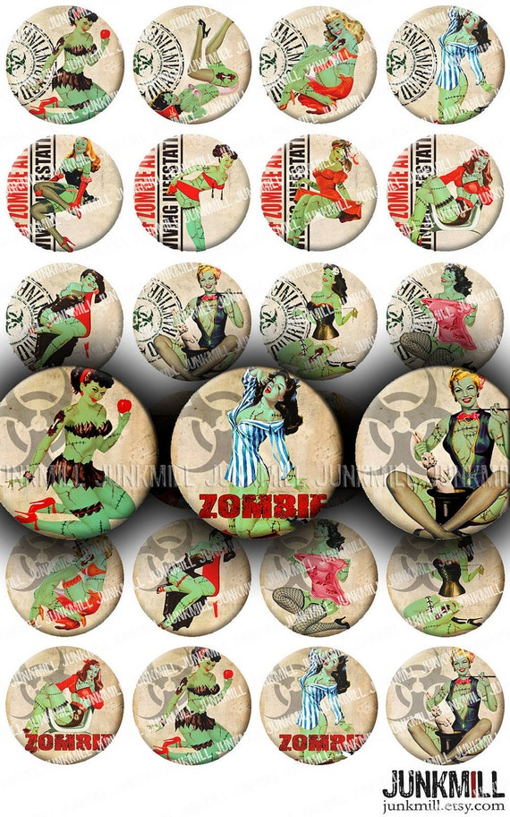 "ZoMBIE PIN-UPS - Digital Printable Collage Sheet - Retro Horror Pin-Up Girls, Zombie Apocalypse, Halloween, 1"" Circles, Instant Download"