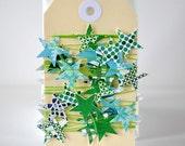 SALE Tiny VALENTINE Patchwork Stars Stitched Paper Garland Green Blue Decoration Children's Room Decor