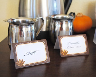 INSTANT DOWNLOAD (Digital) Sophisticated Thanksgiving Food Signs - Small, Medium Tented and Large Flat - Brown, Orange, Tan