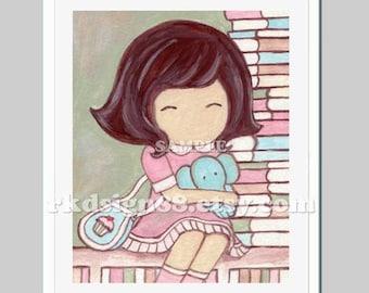 Library art baby girl nursery art for children decor, kids room decor, back to school art, read books, elephant - Balance