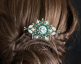 Wedding Hair Comb Emerald Green Swarovski Crystals Gold Bridal Hair Accessories Green Crystal Comb Ivory Pearl Bridal Hair Comb KIRRIE
