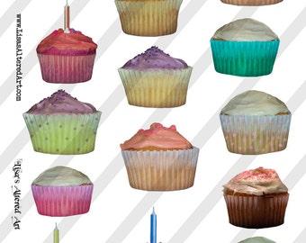Digital Collage Sheet  Cupcake  Images  (Sheet no. O25)-Instant Download