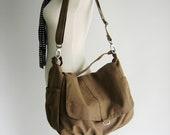 Canvas messenger handbag ,Sahara brown Diaper bag for her,Back to school cross body bag,woman shoulder bag - New Year Sale 30%/ DANIEL
