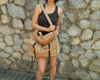 BIG SALE 25% - Mackenzie in Camel  Messenger bag / Satchel /  Laptop bag / Tote / Handbag  / For Her Him /Women /School bag