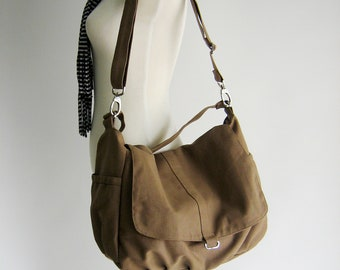 Sale 30% - Canvas messenger handbag ,Sahara brown Diaper bag for her,Back to school cross body bag,woman shoulder bag / no.18 -DANIEL