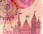 Carnival Comes to Town Art Print  - Small and Medium size