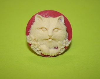 Medium Round Red Kitty Cat Cameo Ring