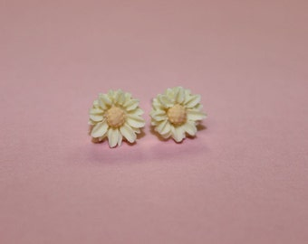Tiny White Daisy Earrings