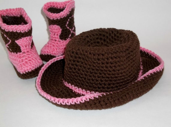 NEWBORN Cowgirl Baby Set Booties and Hat Chocolate & Rose Crochet Baby Set