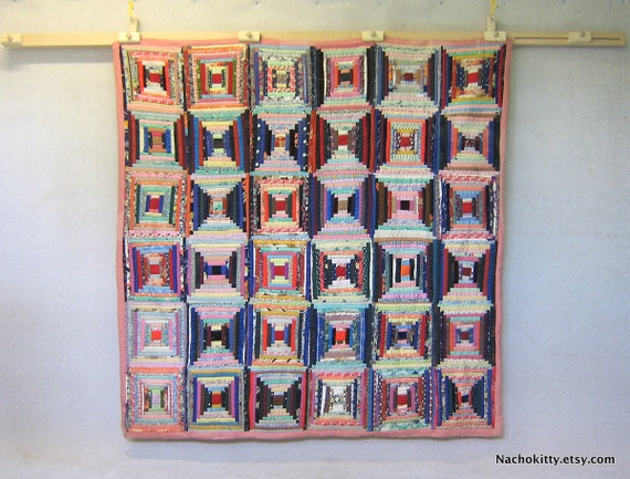 1930s Bed Quilt, Pinks & Rainbow, Thick Warm Wall Hanging