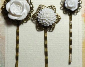 White Vintage Bronze Style Resin Flower Bobby Pin Hair Clip Set of 3  Rose & Chrysanthemum - White Flower Hair Clips