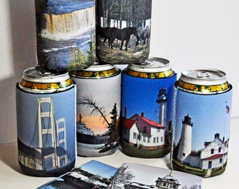 75 Custom cozies insulated can bottle cozy insulator wrap personalized photo text logo kids pets vacation artwork parties monogram wedding