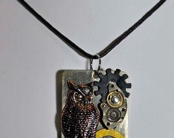 Owl pendant unisex necklace pendant vintage gears watch parts steampunk art sculpture created in Michigan