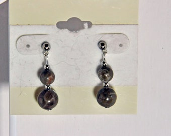 Genuine Michigan state stone Petoskey stone  beaded earrings on posts  natural beads fossils