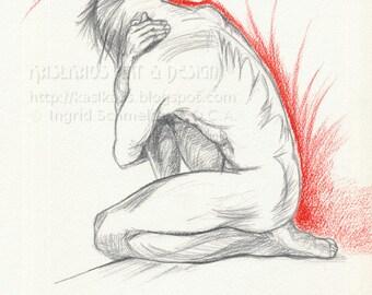 Expressive Nude Art, Pencil Drawing Original Art, Contemporary Art by Canadian Artist, Fine Art Nude Male OOAK Figure Drawing Modern Art
