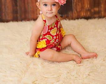 Fancy ruffled Romper-red apples - Available sizes: Newborn - 24 months