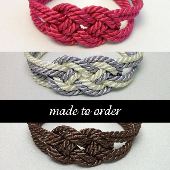 Made to order double infinity knot nautical rope bracelets // 4mm // choose color/charm/size