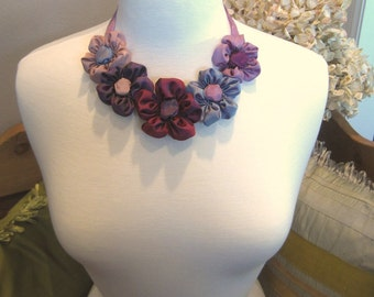 Purple bib statement necklace of ribbon daisies: French ribbon daisies in violet hues -- just one example of what I can dream up for you