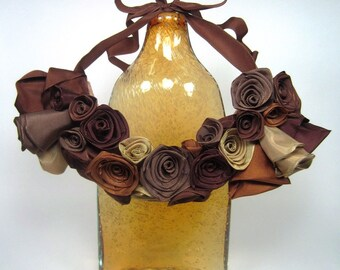 Rose bib statement necklace -- French ribbon roses in autumn brown hues -- the perfect gift for her