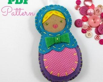 PDF Pattern Felt Nesting Doll Ornament Matryoshka Babushka DIY Tutorial Crafts
