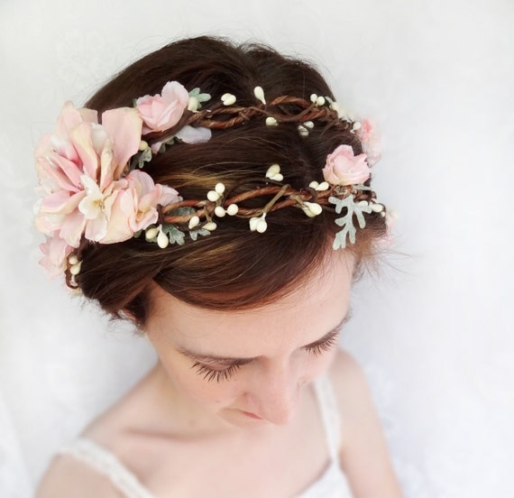 Wedding Flower Headpieces: Romantic Pink Flower Bridal Headpiece Flower Crown Wedding