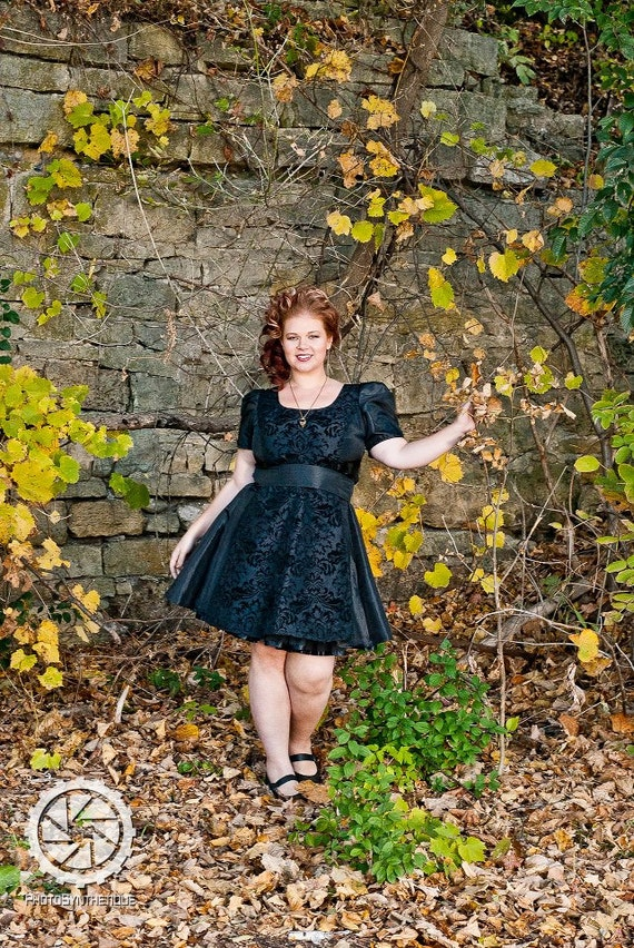 Plus Steampunk Bridesmaid Dress Black Damask  Retro Party - Plus 2X and up Custom to your Size
