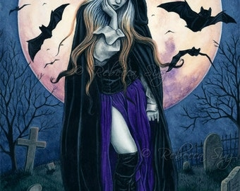 Harvest Moon Prints HALLOWEEN Gothic Art Witch Bats Cemetery Tombstones Graveyard Night Goth Spooky 3 SIZES