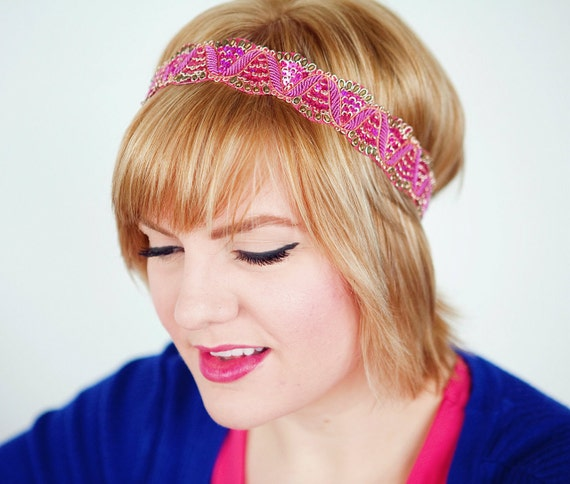 1 Left!  Hot Pink Beaded Headband Fashion Headband Women Teens