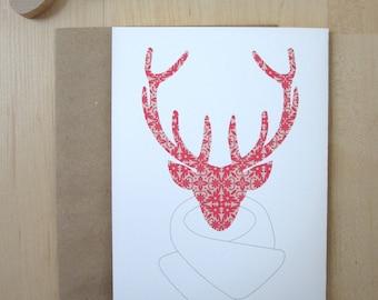 "Red Reindeer Holiday Card,  Flower Pattern Cards, 5x7"", Reindeer Modeling a shawl, Handmade"