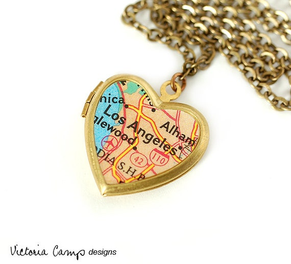 Los Angeles Map Necklace, Vintage Brass Heart Locket - Ready to Ship - Gift under 40