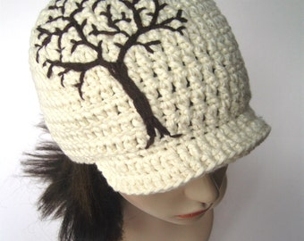Brimmed Beanie with Tree Cotton Brimmed Beanie Brimmed Hat Brimmed Cap Mens Hat Womens Hat Tree of Life Hat Hippie Hat - MADE TO ORDER