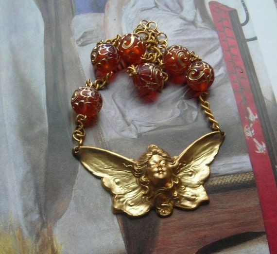 Butterfly Fairy Necklace Art Nouveau Brass Plaque Vintage Assemblage Raspberry lucite Beads Wings Insect