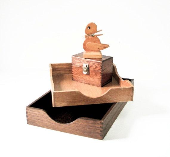 2 Vintage Wood File Boxes -  Wood Index Box - Wood Bird Paper Holder - Instant Office
