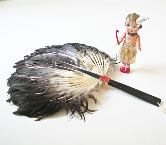Reserved for Heather - Do Not Buy - 2 Vintage Feather Fan - Tortoise Shell Handle - Victorian Romance