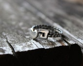 2 Initials Rings with twist band, sterling silver, great for stacking,  Made to order, Custom Ring , Choose  two letters