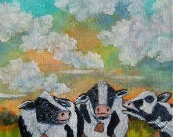 When the Cows come Home  original fine art landscape painting KeROBinson