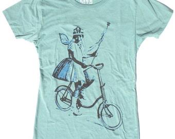 Woman's Bicycle Tee, Fairy Princess, in Jade Green