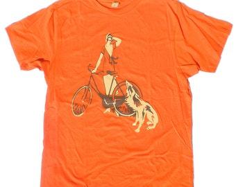 Mens T Shirt, Flapper Girl, Her Bike and Her Dog, in Orange