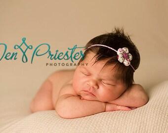 Newborn Headband, Tieback, Newborn Photo PropTiny Flower Headband, Flower tieback