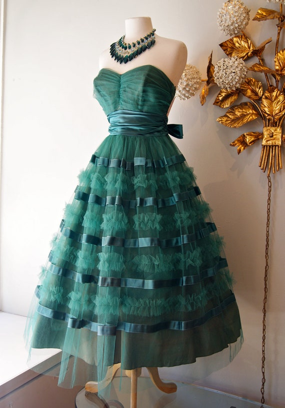 Vintage 1950s Party Dress 50s Emerald Green Tulle And