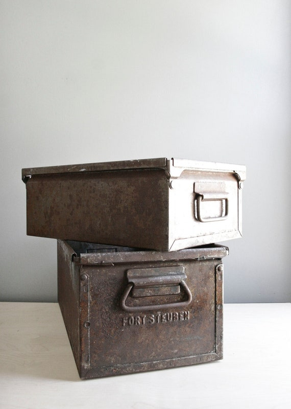 set of two industrial metal crates