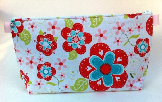 RedAqua Flowers Large Pouch