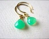 Soft Mint Earrings - chrysoprase earrings, mint green gemstone earrings, gold handmade jewelry, organic gemstone fashion under 50, DE07