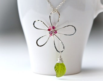 Hammered Wire Daisy Handmade Sterling Silver Pendant with Pink Crystals